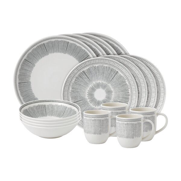 Lines 16 Piece Dinnerware Set, Service for 4 by ED Ellen DeGeneres Crafted by Royal Doulton