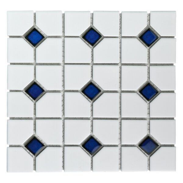 Cambridge Random Sized Porcelain Mosaic Tile in Matte White/Cobalt Dot by EliteTile