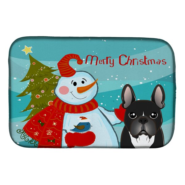 Snowman with French Bulldog Dish Drying Mat by Caroline's Treasures