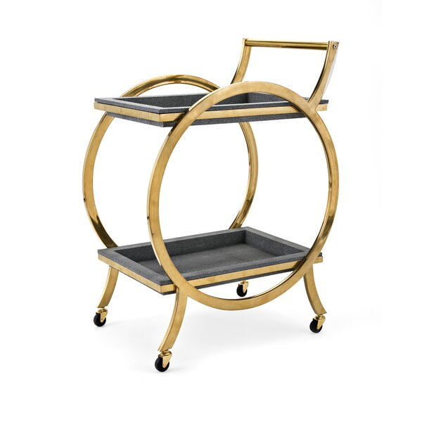 Charleigh Stainless Steel Bar Cart by Everly Quinn