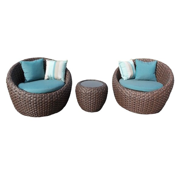 Corona 3 Piece Rattan Sunbrella Seating Group with Sunbrella Cushions by Bay Isle Home