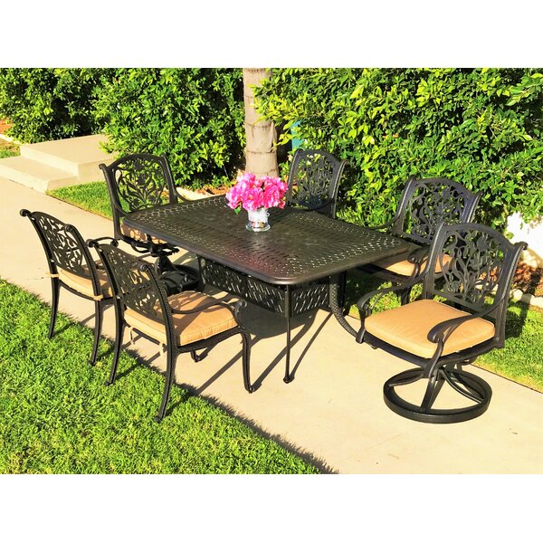 Camptown 7 Piece Sunbrella Dining Set with Cushions by Fleur De Lis Living