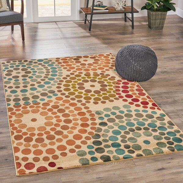 Bazan Psychedelic Beige/Orange/Blue Area Rug by George Oliver