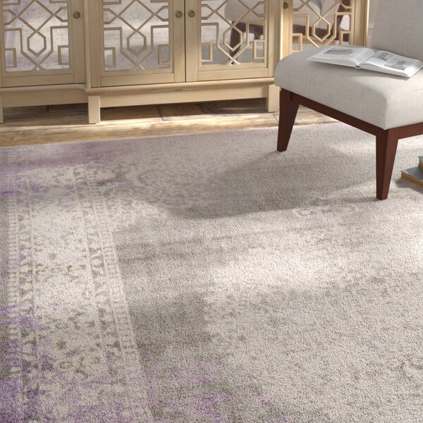 Gidley Arabesque Gray/Violet Area Rug by Bloomsbury Market