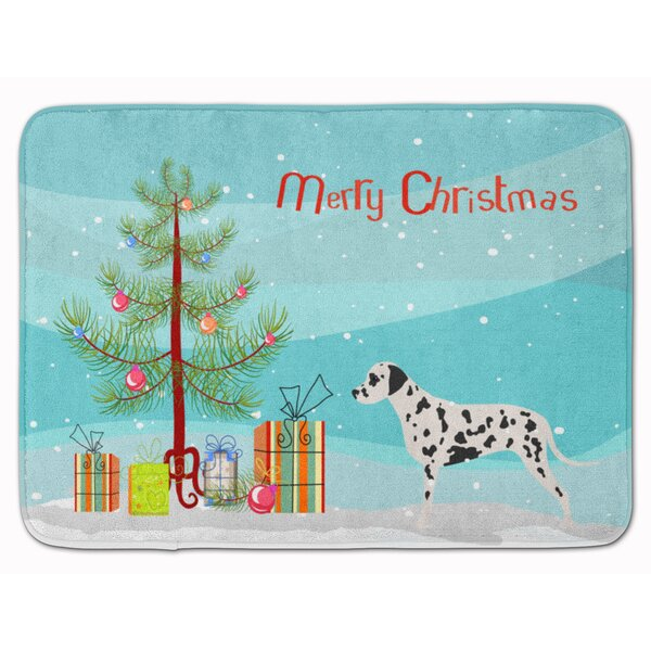 Dalmatian Merry Christmas Tree Memory Foam Bath Rug by East Urban Home