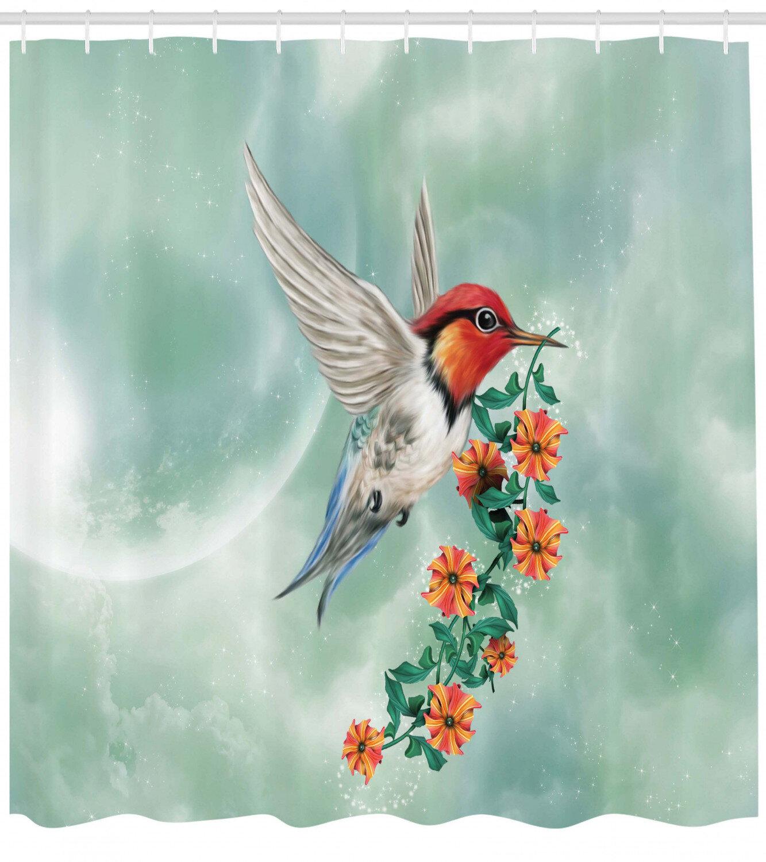 Hummingbird Shower Curtain Set Hooks