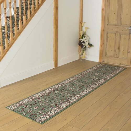 Barnhardt Tufted Green Hallway Runner Rug ClassicLiving