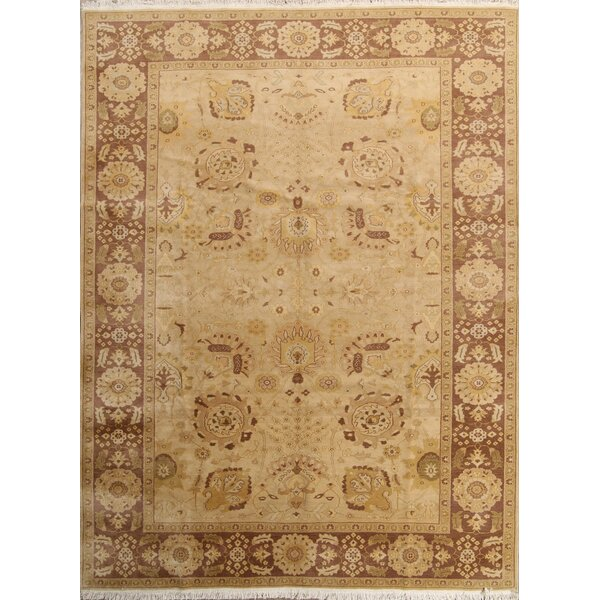 One-of-a-Kind Taplin Oushak Egypt Oriental Hand-Knotted Wool Yellow/Gold Area Rug by Bloomsbury Market
