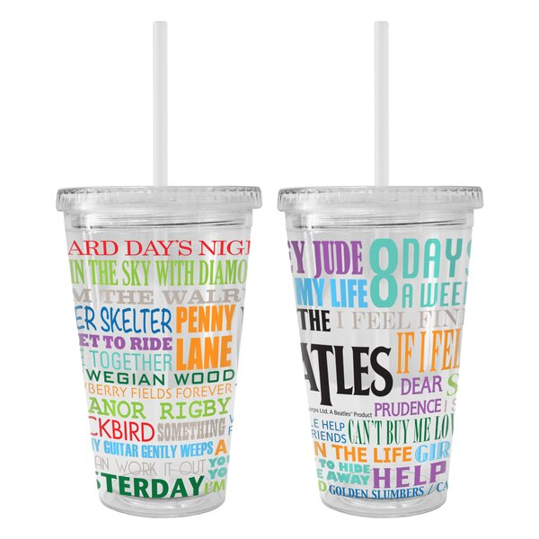 Beatles Greatest Hits Color Wall 22 oz. Plastic Travel Tumbler by Boelter Brands