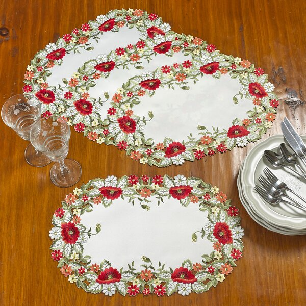 Julio Decorative Red Poppy Handmade Embroidered Cutwork 12 Placemat (Set of 4) by Astoria Grand