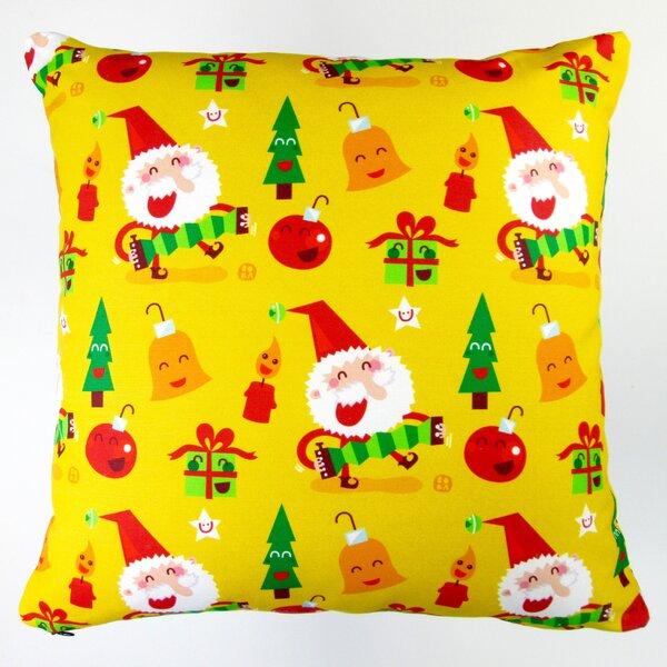 Christmas Happy Xmas Santa and Ornaments Throw Pillow by Artisan Pillows