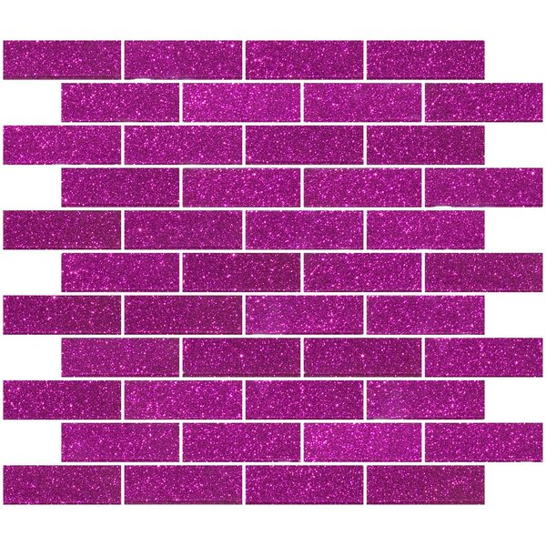 1 x 3 Glass Subway Tile in Fuchsia Pink by Susan Jablon