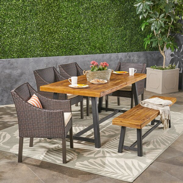 Lovisa 6 Piece Teak Dining Set with Cushions by Williston Forge