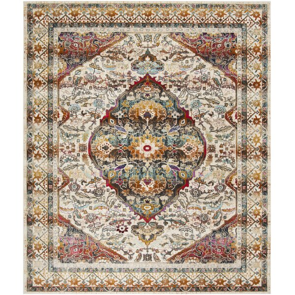Wayne Power Loom Ivory/Teal Area Rug by World Menagerie