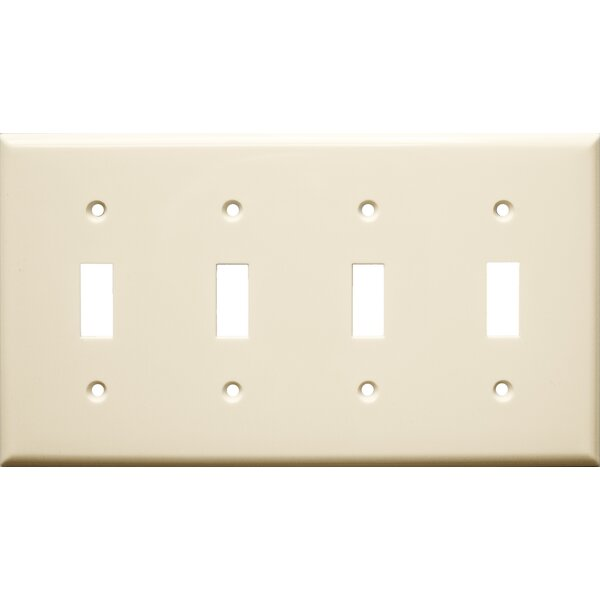 4 Gang Lexan Wall Plates for Toggle Switch in Almond by Morris Products