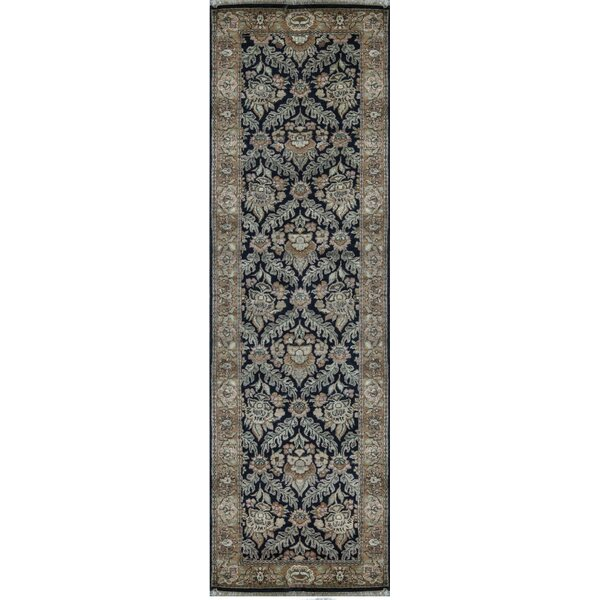Runner Oriental Hand-Knotted Wool Black/Gold Area Rug