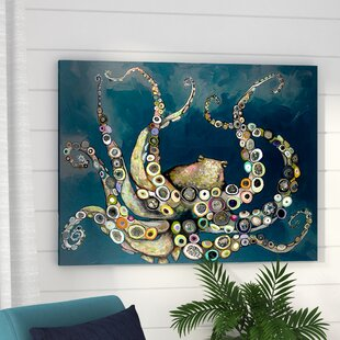 d6b96363b72  Octopus in the Navy Blue Sea  Framed on Canvas