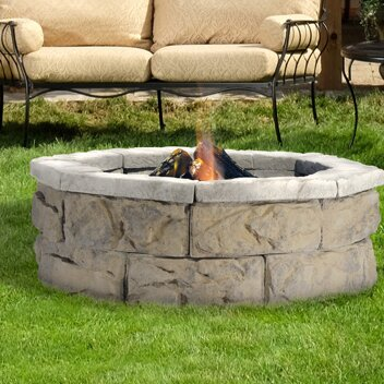 Fossil Stone Wood Burning Fire Pit by Natural Concrete Products Co