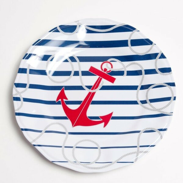 Yacht and Home 11 Dockside Melamine Non-Skid Dinner Plate (Set of 4) by Galleyware Company