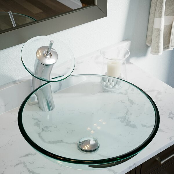 Tempered Glass Circular Vessel Bathroom Sink by MR Direct