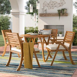 Ajax 5 Piece Dining Set with Cushions & Patio Dining Sets Youu0027ll Love | Wayfair