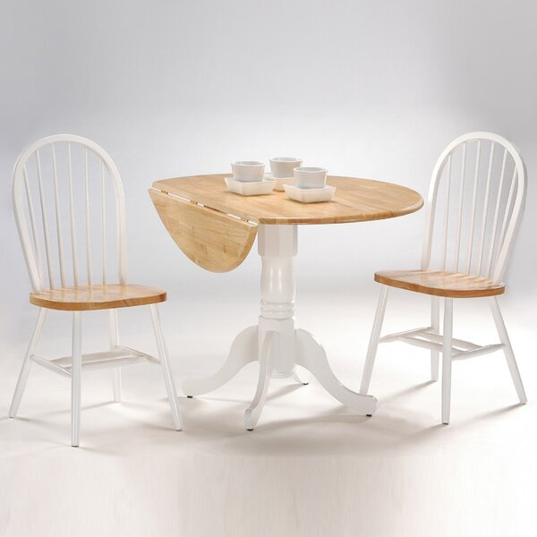 Springville Round Top 3 Piece Drop Leaf Solid Wood Dining Set by August Grove