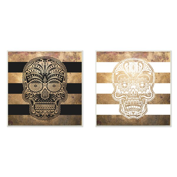 Sugar Skulls Boho Golds 2 Piece Graphic Art Wall Plaque Set by Stupell Industries