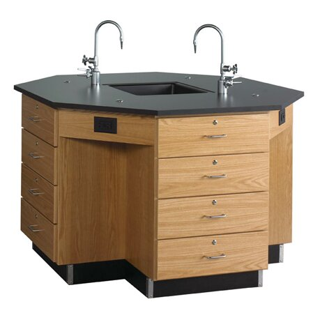 Octagon Workstation with Drawer Base by Diversified Woodcrafts