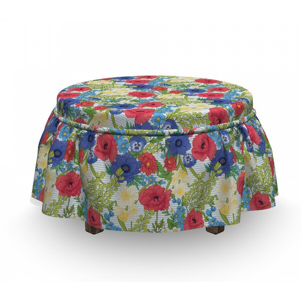 Poppy Flowers And Daffodils Ottoman Slipcover (Set Of 2) By East Urban Home