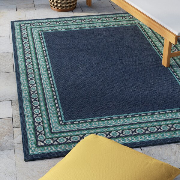 Kailani Navy/Green Indoor/Outdoor Area Rug by Beachcrest Home