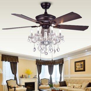 Chandelier ceiling fan combo wayfair 52 ridgway 5 blade ceiling fan aloadofball Gallery