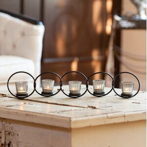 Interlocking Rings 6 Piece Glass/Metal Votive Holder Set