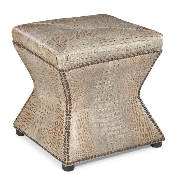 Apfel Leather Tufted Cube Ottoman by Bloomsbury Market