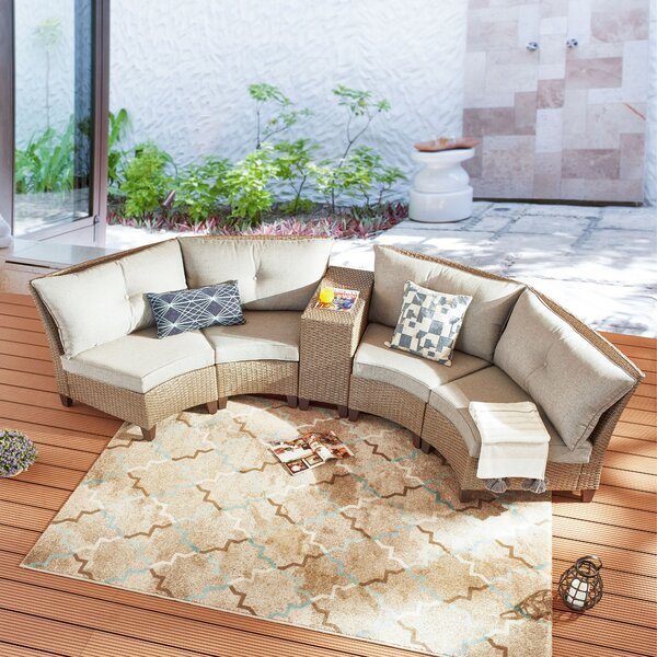 Sachiko 5 Piece Rattan Sofa Seating Group with Cushions by Highland Dunes