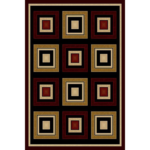 Cosper Burgundy/Black Area Rug by Ebern Designs
