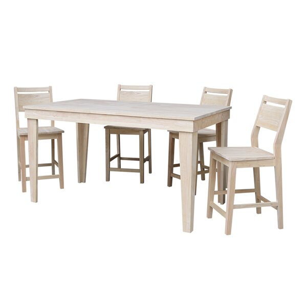 Theodosia 5 Piece Pub Table Set by Highland Dunes