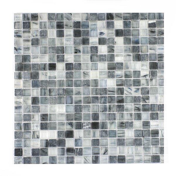 Piazza 0.5 x 0.5 Glass Mosaic Tile in Dark Blue/Gray by Byzantin Mosaic