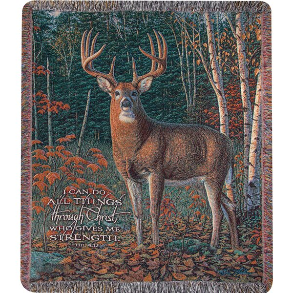 Autumn Sentinel Tapestry Cotton Throw by Manual Woodworkers & Weavers