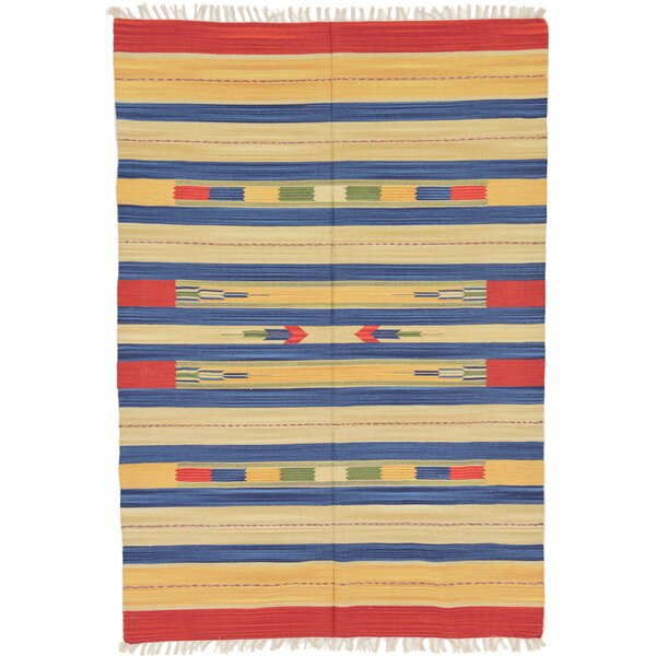Pheonix Hand woven Wool Red/Brown/Blue Area Rug by Bungalow Rose