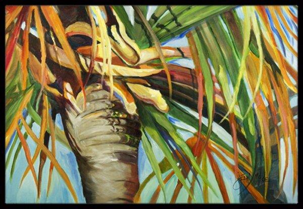 Orange Top Palm Tree Doormat by Caroline's Treasures