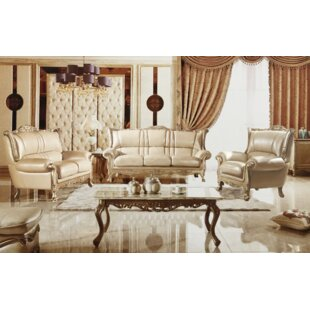 3 Piece White Pearl Genuine Leather Living Room Set (Set of 3) by Rosdorf Park