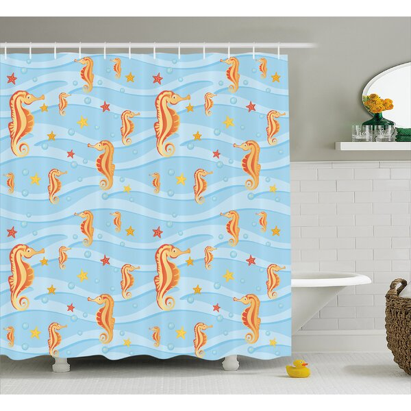 Roxanna Waves Tropic Sea Ceature Shower Curtain by Highland Dunes