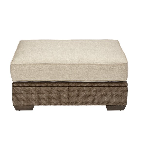 Astrid Outdoor Wicker Ottoman with Cushion by Gracie Oaks