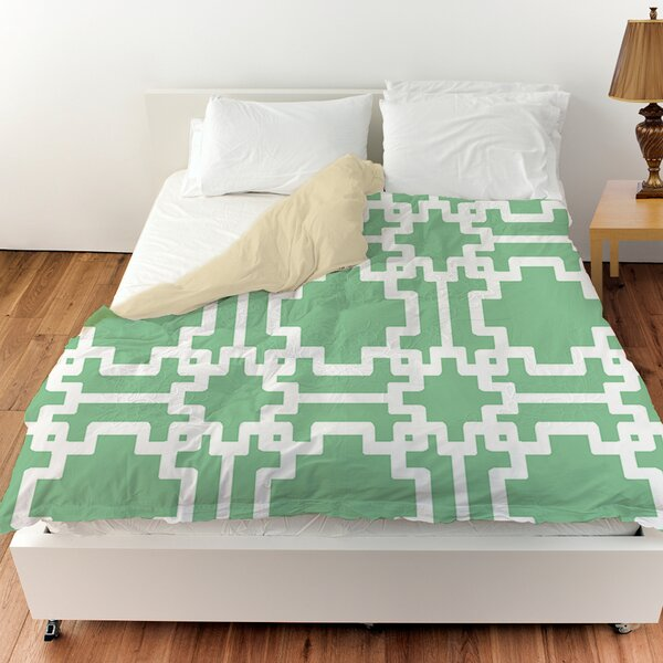 Modern Geometric Mint Duvet Cover by Manual Woodworkers & Weavers