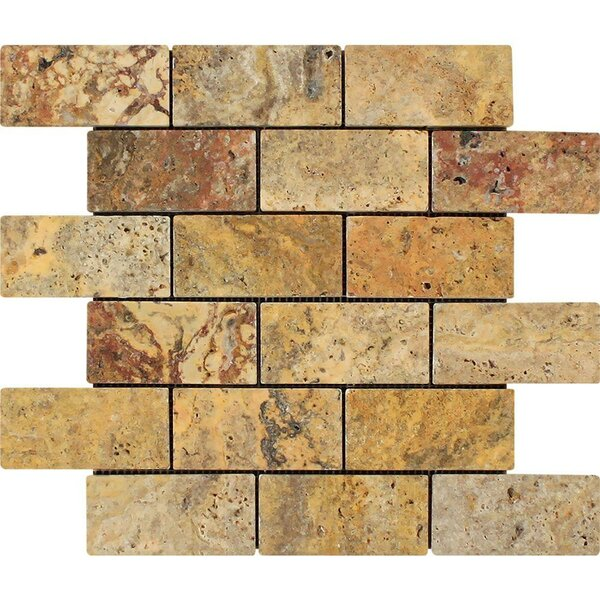 Scabos Beveled Honed Tumbled 12 x 12 Travertine Mosaic Tile
