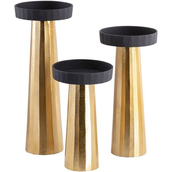 Everly Quinn 3 Piecemetal Tabletop Candlestick Set Reviews Wayfair