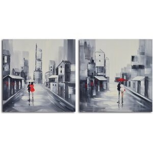 Same Love, Different Day' 2 Piece Painting on Wrapped Canvas Set by My Art Outlet