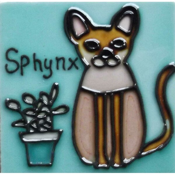 Sphynx Cat Tile Magnet by Continental Art Center