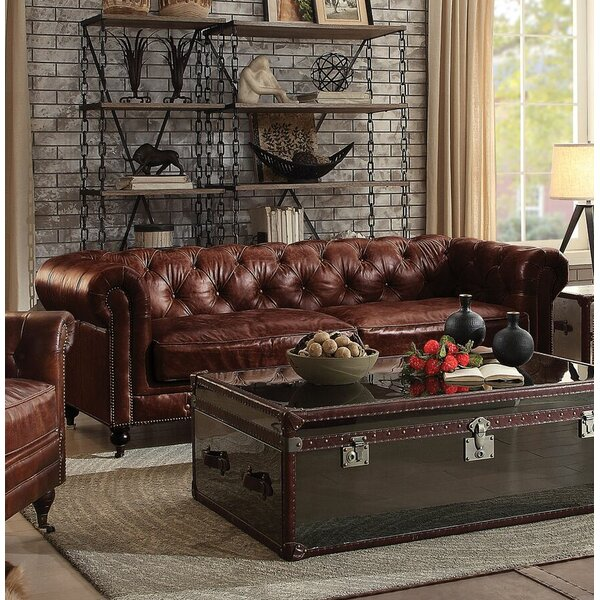 Drage Leather Sofa by Canora Grey