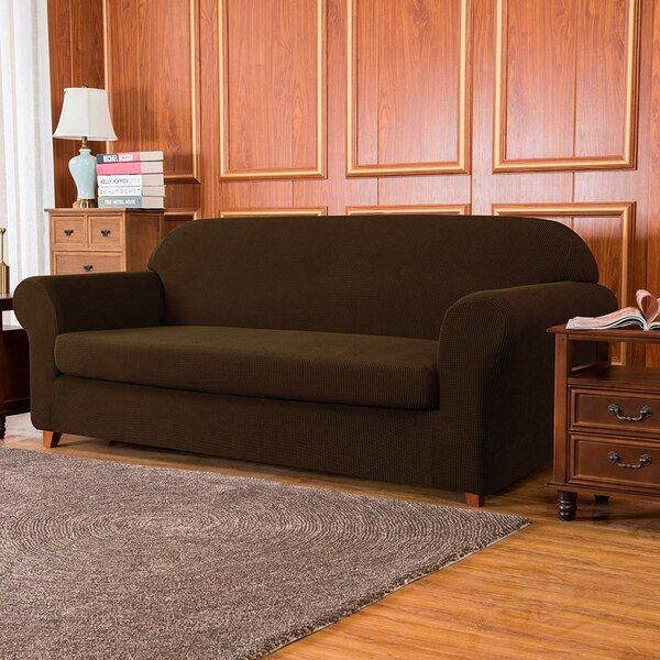 Jacquard High Stretch 2 Seats Box Cushion Loveseat Slipcover By Winston Porter